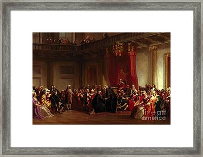 Benjamin Franklin Appearing Before The Privy Council  Framed Print by Christian Schussele