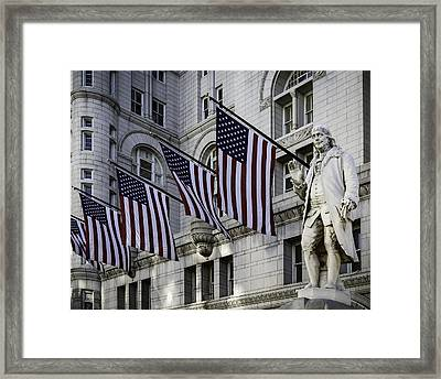Benjamin Franklin At Old Post Office Framed Print by Eduard Moldoveanu