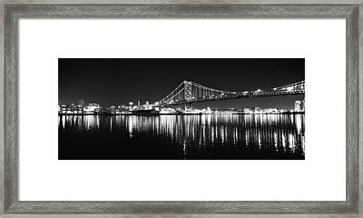 Benjamin Franklin Bridge - Black And White At Night Framed Print
