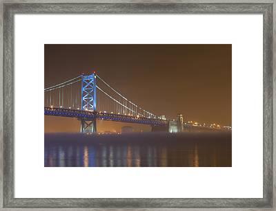 Benjamin Franklin Bridge Framed Print by Derek  Burke