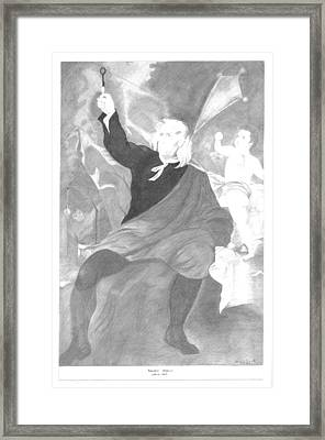 Benjamin Franklin Drawing Electricity From The Sky Framed Print by Bernardo Capicotto