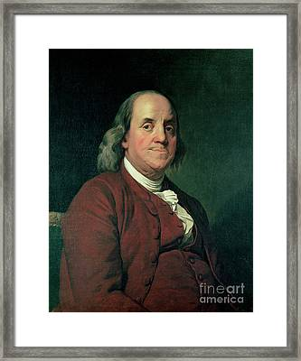 Benjamin Franklin Framed Print by Joseph Wright of Derby