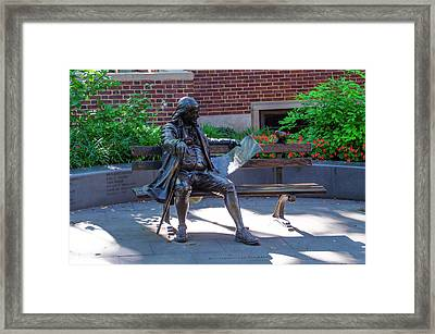 Benjamin Franklin On A Park Bench Framed Print by Bill Cannon