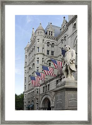 Benjamin Franklin Statue In Front Of The Old Post Office - Washington Dc Framed Print by Brendan Reals