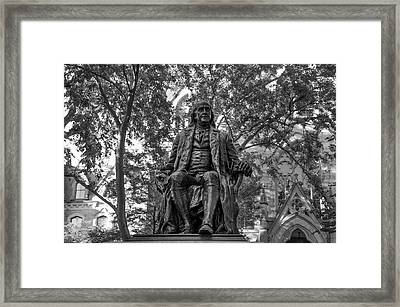 Benjamin Franklin Staue - University Of Pennsylvania In Black An Framed Print