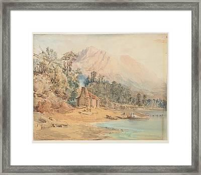 Bennells Store, Lake Wakatipu, 1866, By Nicholas Chevalier. Framed Print