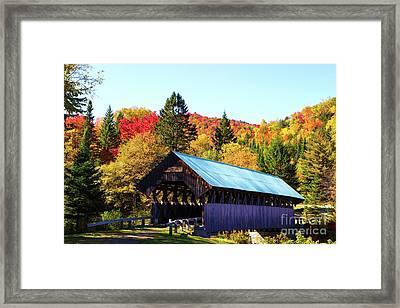 Bennett Covered Bridge In Fall Framed Print by Lloyd Alexander