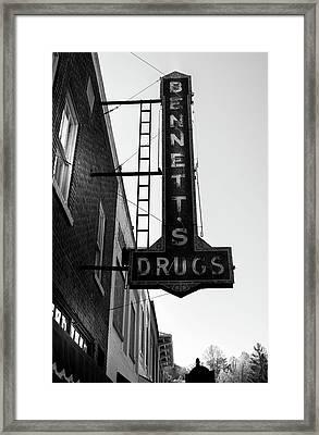Bennett's Drugs In Black And White Framed Print