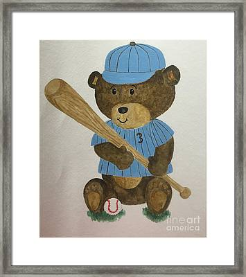 Benny Bear Baseball Framed Print by Tamir Barkan