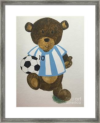 Framed Print featuring the painting Benny Bear Soccer by Tamir Barkan