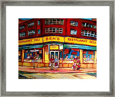 Ben's Delicatessen - Montreal Memories - Montreal Landmarks - Montreal City Scene - Paintings  Framed Print by Carole Spandau