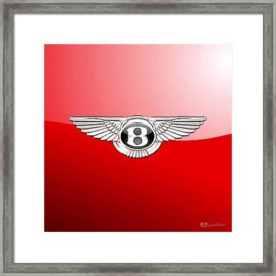 Bentley 3 D Badge On Red Framed Print