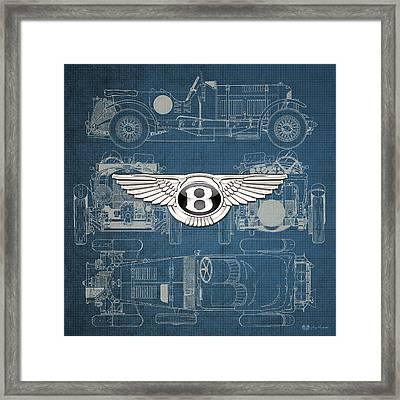 Bentley - 3 D Badge Over 1930 Bentley 4.5 Liter Blower Vintage Blueprint  Framed Print by Serge Averbukh