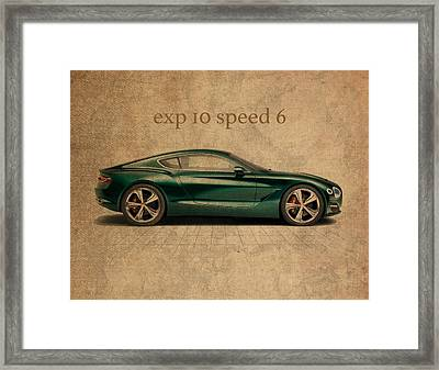 Bentley Exp 10 Speed 6 Vintage Concept Art Framed Print by Design Turnpike
