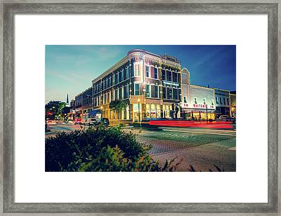 Bentonville Arkansas Downtown Square At Dusk Framed Print