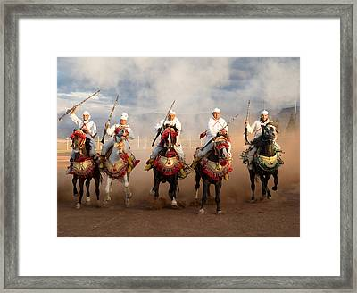 Berber Horseman Pulling Up After Firing Framed Print by Panoramic Images