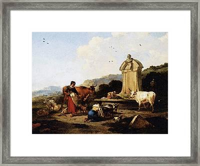 Berchem Midi Framed Print by Nicolaes Berchem