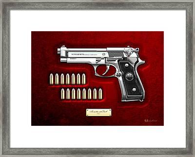 Beretta 92fs Inox Over Red Velvet Framed Print