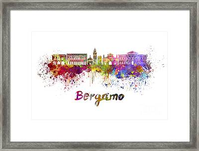 Bergamo Skyline In Watercolor Framed Print by Pablo Romero