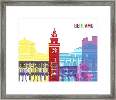 Bergamo Skyline Pop Framed Print by Pablo Romero