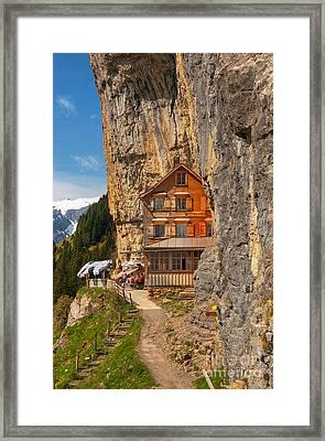 Berggasthaus Aescher Wildkirchli Framed Print by Caroline Pirskanen