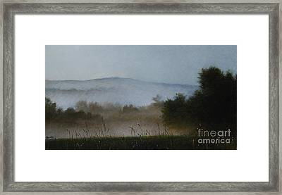 Berkshire Morning Mist Framed Print by Larry Preston