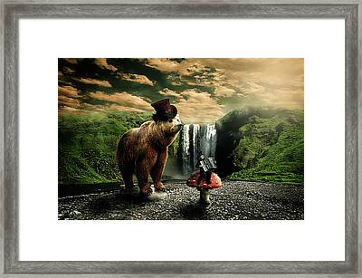 Framed Print featuring the digital art Berlin Bear by Nathan Wright