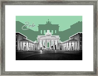 Berlin Brandenburg Gate - Graphic Art - Green Framed Print by Melanie Viola