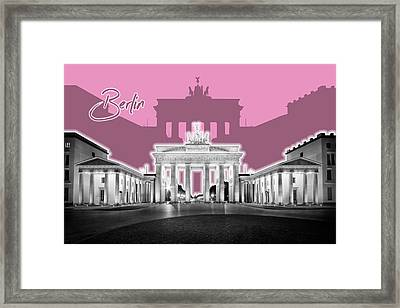 Berlin Brandenburg Gate - Graphic Art - Pink Framed Print by Melanie Viola