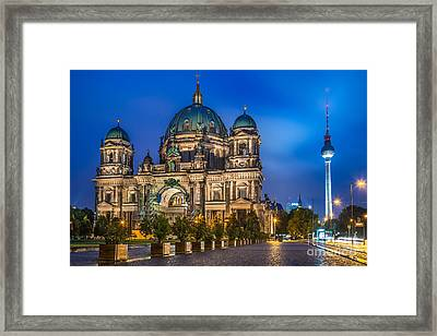 Berlin Cathedral With Tv Tower At Night Framed Print by JR Photography