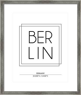Berlin City Print With Coordinates Framed Print