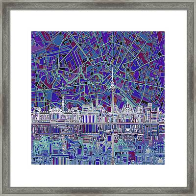 Berlin City Skyline Abstract 3 Framed Print by Bekim Art
