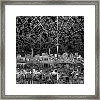Berlin City Skyline Abstract 4 Framed Print by Bekim Art