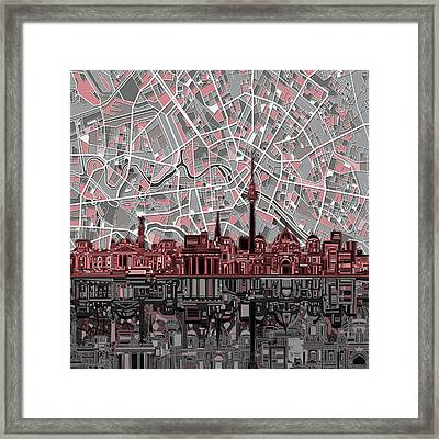 Berlin City Skyline Abstract Framed Print