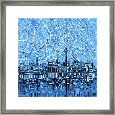 Berlin City Skyline Abstract Blue Framed Print by Bekim Art