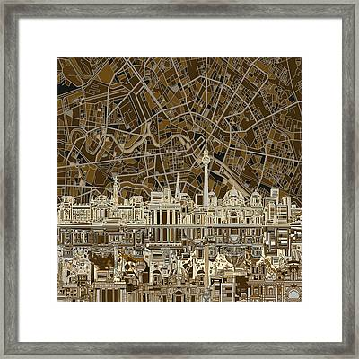 Berlin City Skyline Abstract Brown Framed Print by Bekim Art
