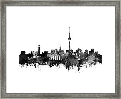 Berlin City Skyline Black And White Framed Print by Bekim Art
