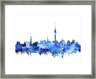 Berlin City Skyline Blue Framed Print by Bekim Art