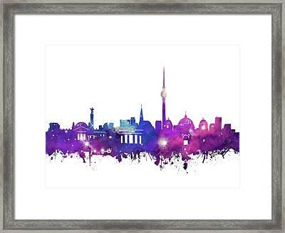 Berlin City Skyline Galaxy Framed Print by Bekim Art