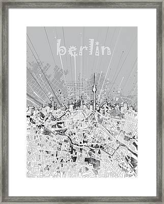 Berlin City Skyline Map 2 Framed Print by Bekim Art