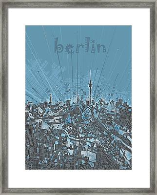 Berlin City Skyline Map 3 Framed Print by Bekim Art