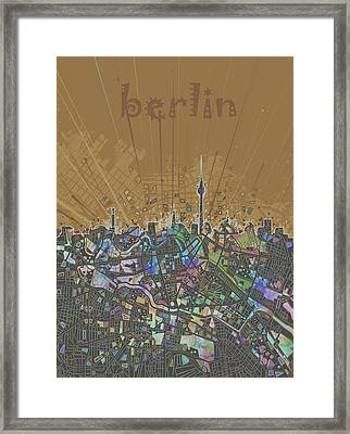 Berlin City Skyline Map 4 Framed Print by Bekim Art