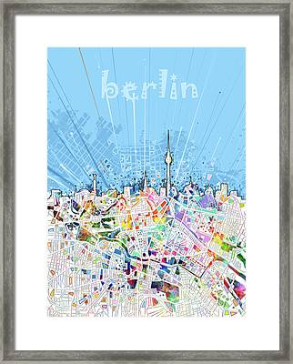 Berlin City Skyline Map Framed Print by Bekim Art