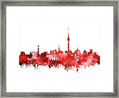 Berlin City Skyline Red Framed Print by Bekim Art