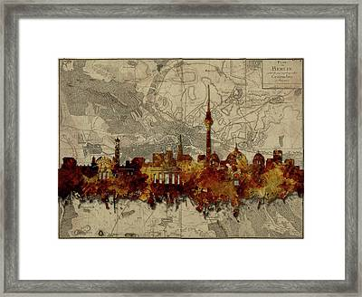 Berlin City Skyline Vintage Framed Print by Bekim Art
