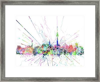 Berlin City Skyline Watercolor 2 Framed Print by Bekim Art