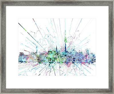 Berlin City Skyline Watercolor 3 Framed Print by Bekim Art