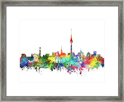 Berlin City Skyline Watercolor Framed Print by Bekim Art