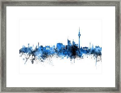 Berlin Germany Skyline Blue Signed Framed Print