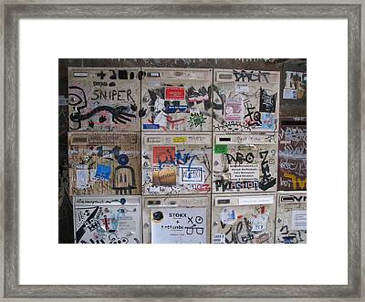 Framed Print featuring the photograph Berlin  Mailboxes by Erik Falkensteen